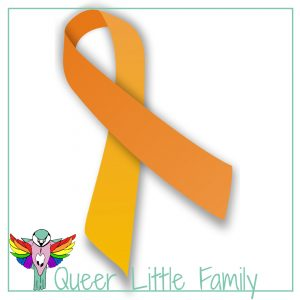 An orange awareness ribbons