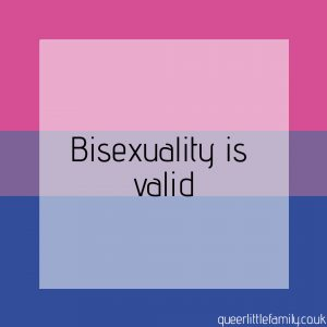 A bisexual pride flag with the word Bisexuality If Valid over it.
