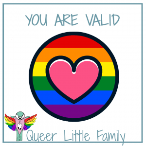 a pink hear inside a circle filled with a rainbow. You are valid is written above.