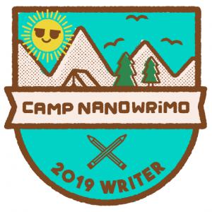 Camp NaNoWriMo badge - a sun over some mountains.