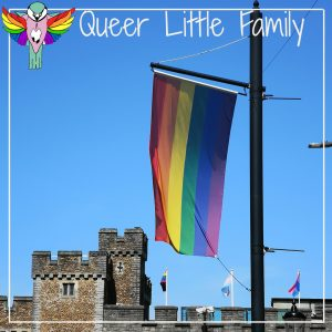 LGBTQIA+ Pride flag flying in front of Cardiff Castle and a blue sky.