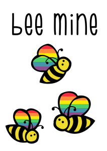 Three bees with muted pride rainbow wings and the words bee mine in the bumblebee font.