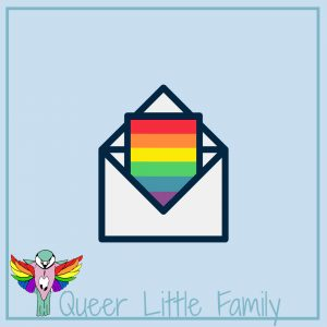 A white envelope with a rainbow letter sticking out of it for Coming Out Day